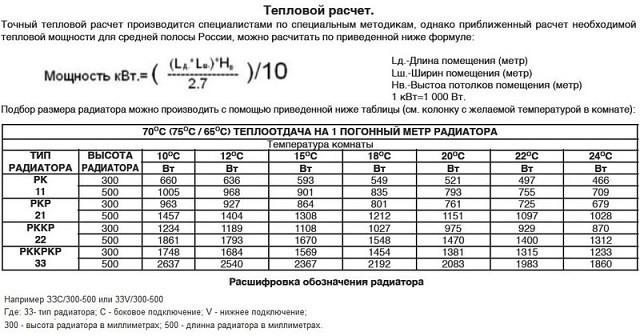 Расчет тепловой мощности отопления