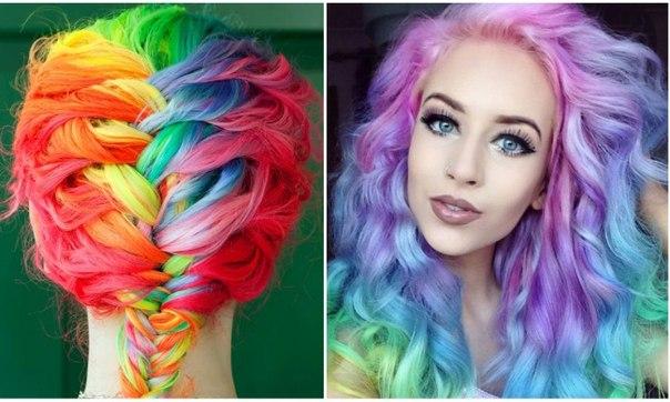 20 девушек с радугой в волосах 🌈 ↪
