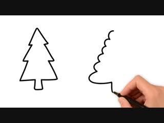 Как нарисовать елку (10 вариантов)