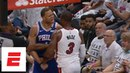 Dwyane Wade and Justin Anderson get into it during Game 3 of 76ers vs. Heat ESPN