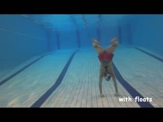 Underwater reverse vertical breaststroke kick