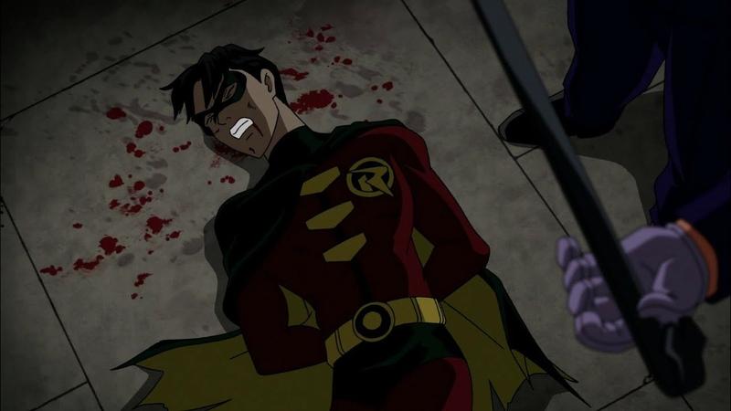 Джокер избивает до смерти Робина мультфильм Бэтмен Под Колпаком