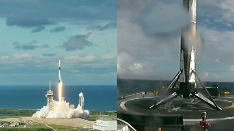 Falcon 9 launches Es'hail-2 Falcon 9 first stage landing