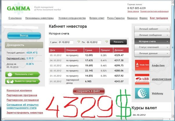 Отчет за 01.10.2012 по 05.10.2012