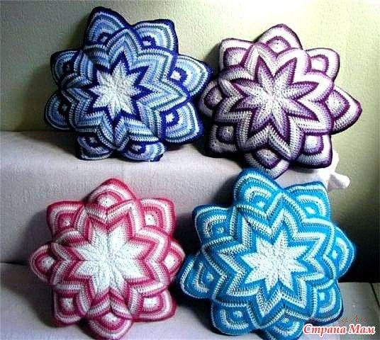 Подушка - цветок, вязанная крючком. Вязание онлайн...
