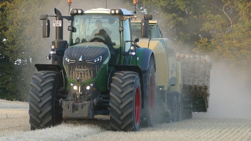 Fendt 1038 Vario Going Fast in The Field Baling w Krone HighSpeed Injecting Slurry w Samson PG28