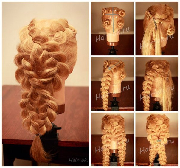 Плетение кос на длинные волосы фото пошагово
