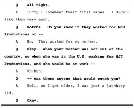 Показания Йоши Уейли, сына Джоли Левин (секретарь MJ)., изображение №6