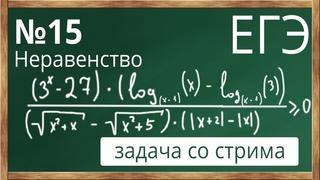 📌 Слжный №15 Неравенство с логарифмами. ЕГЭ. Математика. Обобщенный метод интервалов
