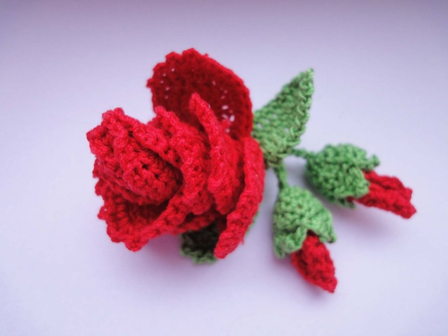 Роза с бутонами Rose and flower buds Crochet