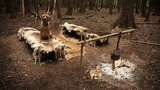 2 Day Bushcraft Camp with a Dog - Deer Hide Beds, Camp Fire Cooking (Forest Camping)