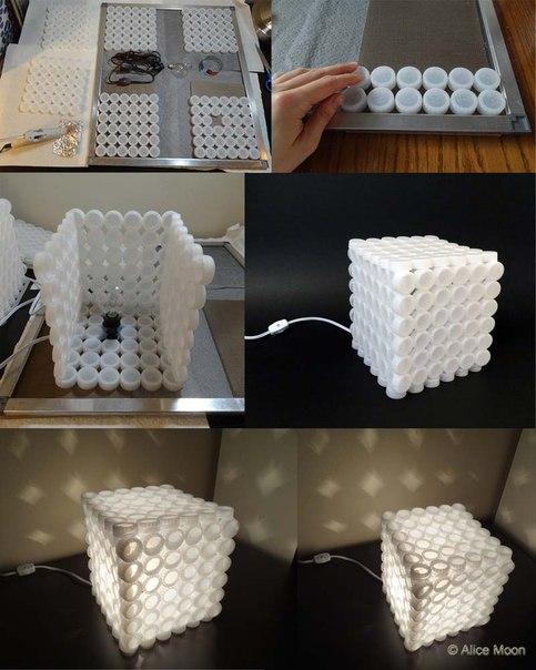 Эффектная лампа из пластиковых бутылочных крышек