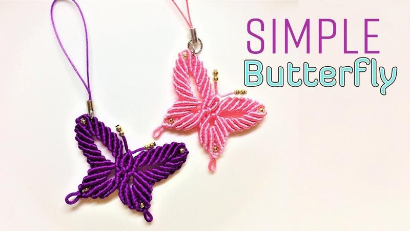 Macrame tutorial how to make a Simple butterfly keychain Hướng dẫn thắt dây móc khóa con bướm