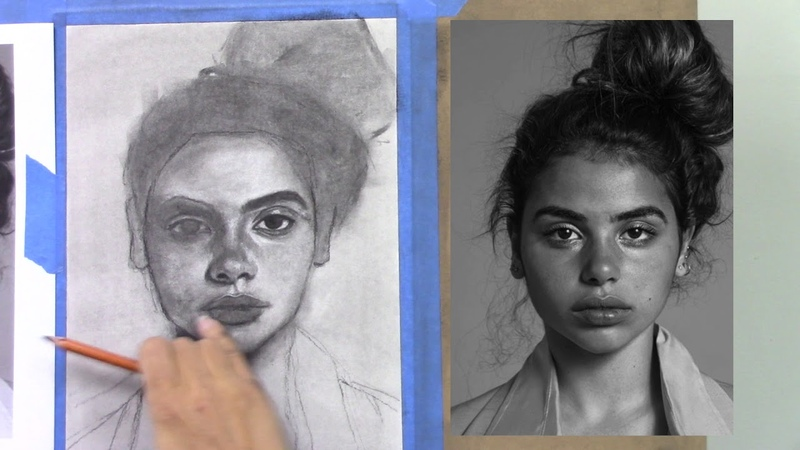 Charcoal Drawing Tutorial - Female Portrait