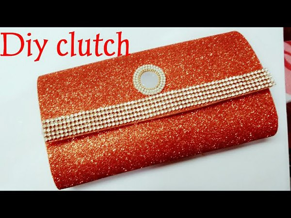 How to make no sew clutch purse with glitter foam sheets in 5min/DIY clutch purse no sew tutorial