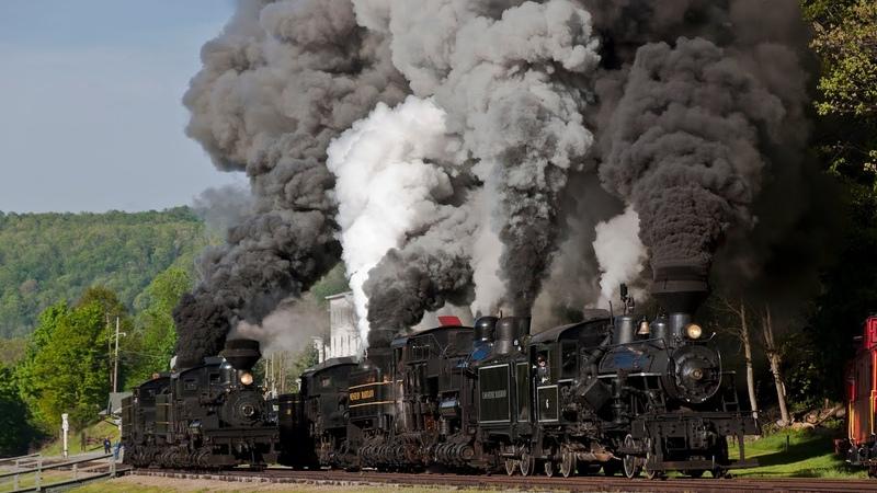 HD The 2014 Cass Railfan Weekend - Part 3 - Sunday, Three Shay Race Whittaker Runbys