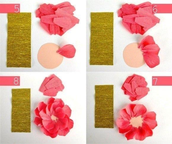 Как сделать цветы из бумаги своими руками поэтапно фото розу