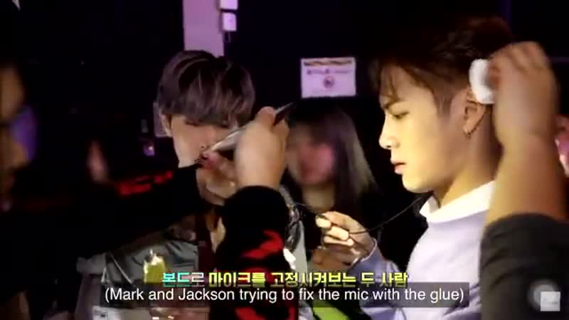 Jackson's was looking for the glue and Mark immediately helped to also look around for the glue after he got it he started to he