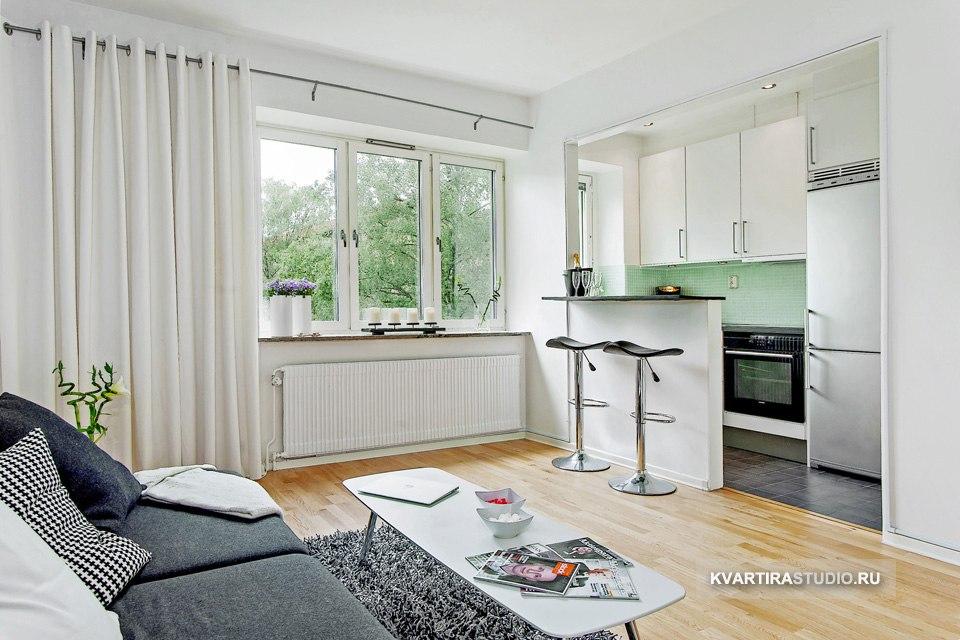 Черно-белые фотообои в интерьере квартиры 30 м в Гётеборге / Швеция - http://kvartirastudio.
