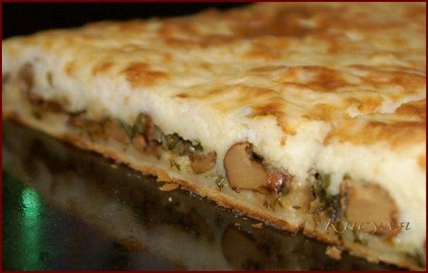 Пирог с грибами из дрожжевого теста в духовке пошаговый рецепт