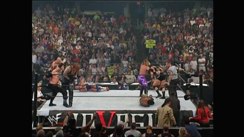 Booker T, Bubba Ray Dudley, Diamond Dallas Page, D-Von Dudley and Rhyno vs Chris Jericho, Kane, Kurt Angle, Stone Cold Steve Aus