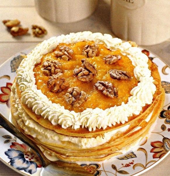 Блинный торт с курагой