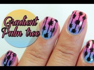 Пальмы и омбре.Дизайн ногтей