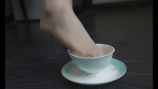 Alice put her nylon feet in a cup of sugar and trys to feed you with pantyhose feet will you accept