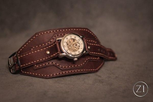 Ремень напульсник кожаный для часов кожаный ремень синий