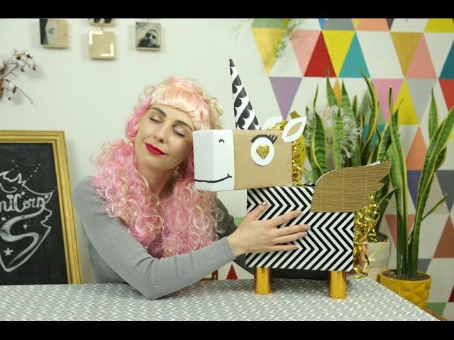 Коробка-единорог ко Дню Валентина простой рецепт кексов Unicorn box DIY