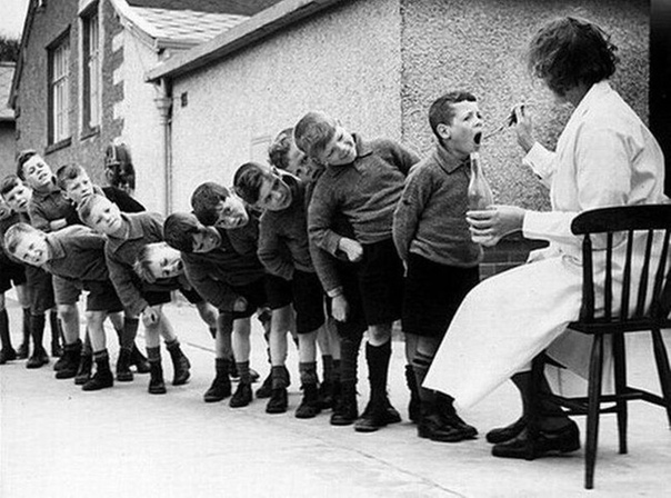 Дети принимают рыбий жир. 1960 год