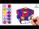 Rubiks Drawing and Coloring with Glitters, Finger Family Songs Glitters Rubiks coloring pages