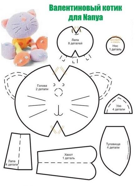 Мягкая игрушка своими руками выкройки кошки