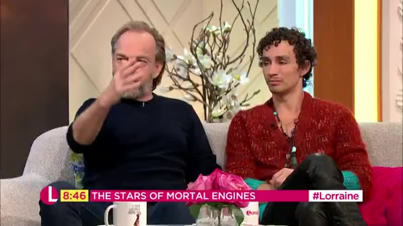 Stars of Mortal Engines, Hugo Weaving and Robert Sheehan, star in a new space-age movie set in a post-apocalyptic world where Lo