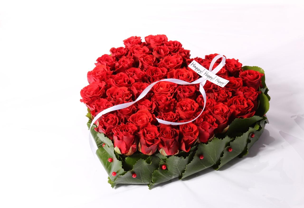 Российских роз, букет благородное сердце