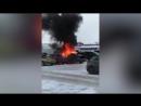 На севере Петербурга эффектно сгорел дорогой Mercedes