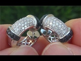 Certified Natural VS2 &amp Fancy Black and White Diamond 18k White Gold Huggie Hoop Earrings - C898