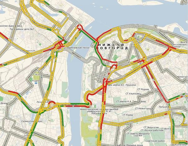Карта пробок Нижнего Новгорода