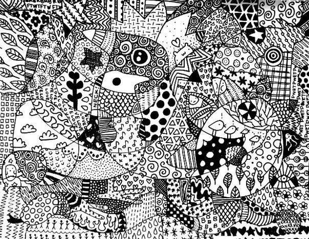 This is an 8.5 x 11 piece of paper doodled all to heck in zentangle style.