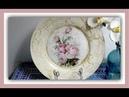 Plato decorado con decoupage y craquelado casero con cola blanca pegamento escolar tutorial diy
