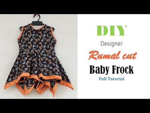 Diy Designer Rumal cut Baby Frock For 1 to 2 year baby girl Full Tutorial