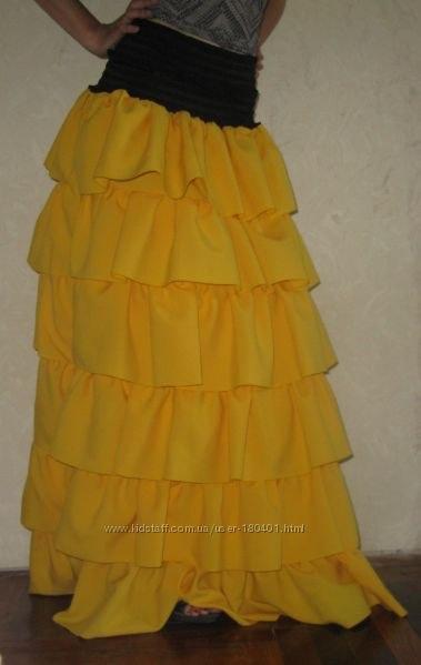Выкройка длинной юбки воланы