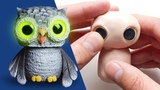 How to Make an Owl Sculpture with GLOW IN THE DARK EYES Out of Polymer Clay