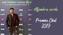 Cepeda con Álvaro Díaz y MJ Aledón en la alfombra verde de los Premios Dial 2019