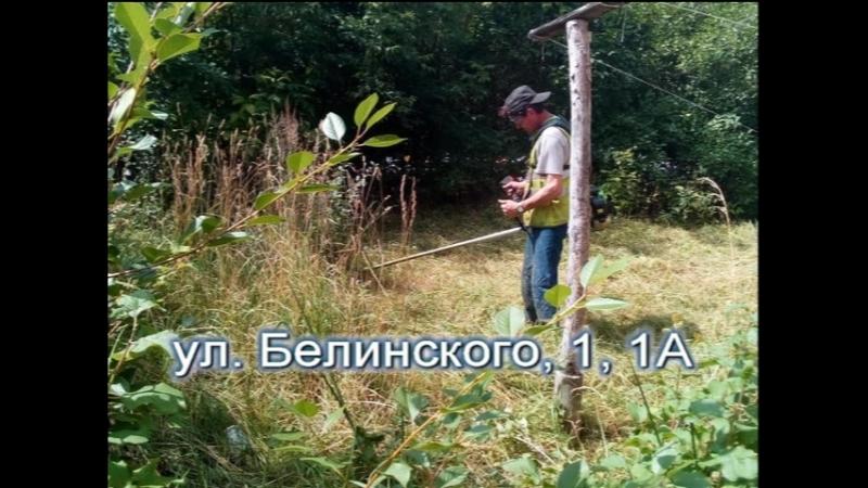 Покос травы территории поселка Строителей ул. Белинского, д. 1, 1А