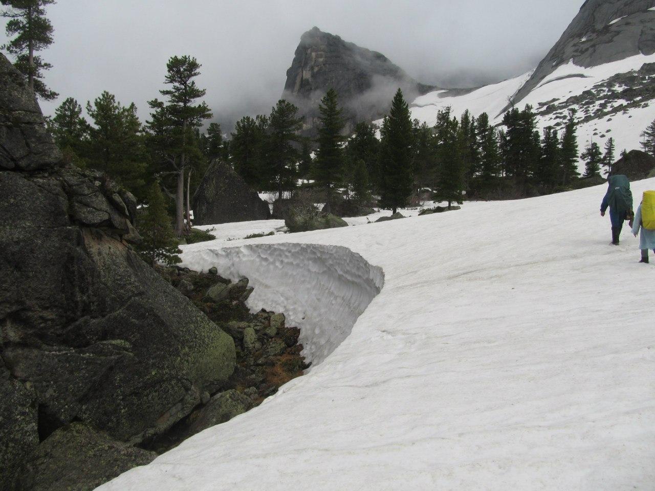 Около камней снег тает быстрее. Здесь можно оценить его глубину, люди в кадре для масштаба.