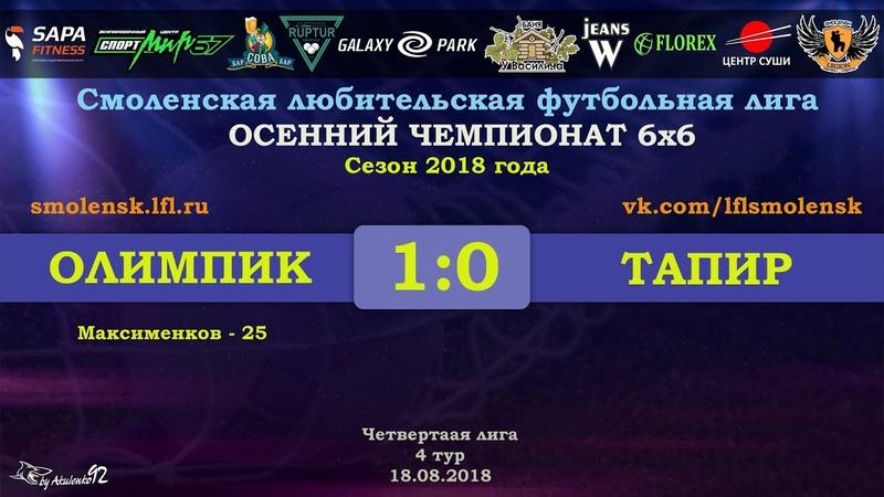 Осенний сезон 6х6-2018. ОЛИМПИК - ТАПИР 10 (обзор матча)