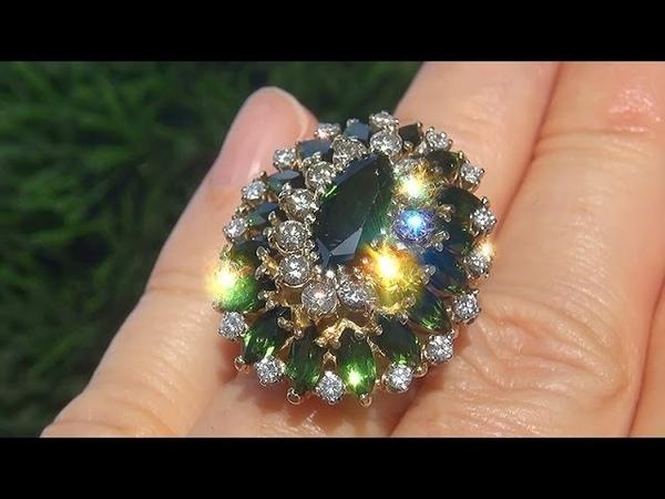 Estate Certified VVS Natural Green Tourmaline Diamond 18k Yellow Gold Vintage Ring C641