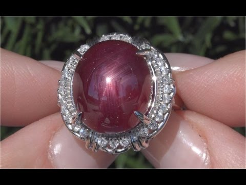 Certified Natural Star Ruby Diamond 14k White Gold Cocktail Estate Ring C220