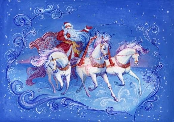 Листівка з дідом морозом на конях